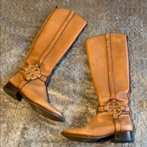 Tory Burch Chestnut Brown + Gold Riding Boots